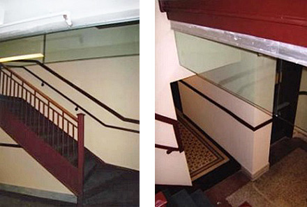 two photos: left-open staircase in a 1920's apt lobby with a glass smoke curtain installed at the top, and right-close up view of a glass smoke curtain installed at the top of an open staircase in a 1920's apt lobby