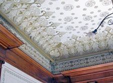 Sympathetic installation of fire suppression system at decorative ceiling