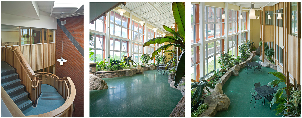 Terrazzo floors which suggest earth, land, water, and air flow from the stairwell down to the solarium.