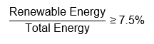 equation Renewable Energy over Total Energy is equal to or greater than 7.5 percent