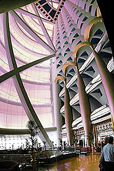 The Burj Al Arab in Dubai has a 180 m (590 ft) tall atrium.