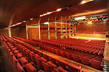View 1 of the Auditorium Giovanni Agnelli in Turin, Italy - facing the stage and showing the variable ceiling heights according to acoustic needs