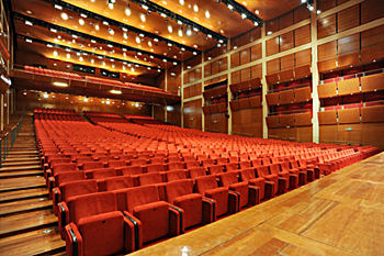 View 2 of the Auditorium Giovanni Agnelli in Turin, Italy - facing the audience and showing variable ceiling height according to acoustic needs