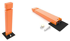 two orange padlocked collapsible bollards, one padlocked and standing on black base and one folded down on black base with open padlock and tool next to it
