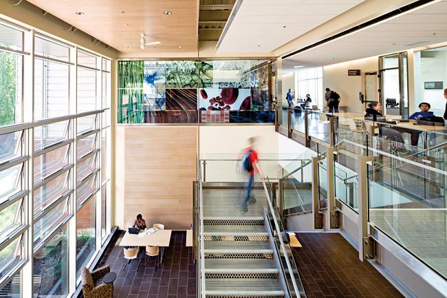 Chemeketa Community College Health Sciences Complex, active learning center overlooking lobby