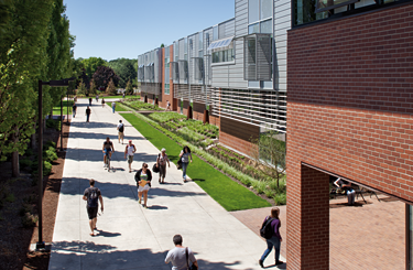 Pedestrian walkway along the Chemeketa Community College Health Sciences Complex