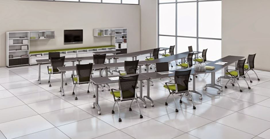 An image displaying flexible furniture and how the arrangements allow ease of access.