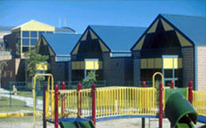 Photo of a school with a main buidling and three smaller building units all with steep sloped metal roofs as well as the school playground