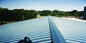 Close up photo example of a steep slope metal roof