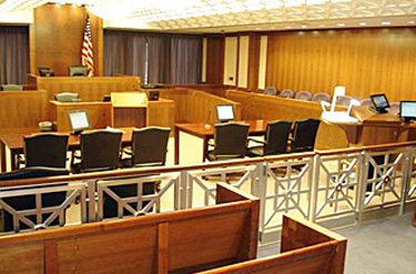 Courtroom utilizing multiple devices to present information
