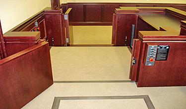 Lifts for accessibility into the jury box in a courtroom