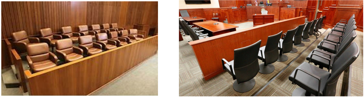 Jury seating will vary with the design and configuration of the courtroom