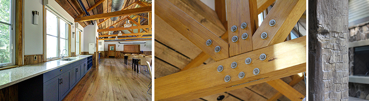 3 side by side photos of the lodge aesthetic of the Morris & Gwendolyn Cafritz Foundation Environmental Education Center-left: wood flooring and wainscoting; center: wooden ceiling treatment; right: exterior posts of salvaged wood
