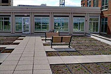 Courtyard with view to Energy Star compliant reflective flat roof