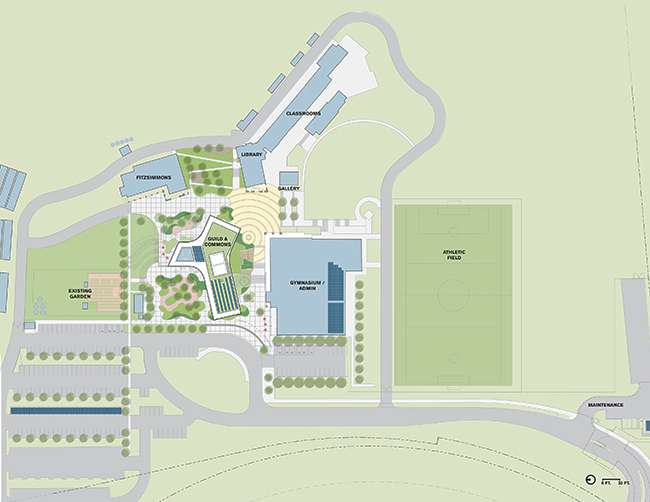 Site plan of Sonoma Academy's Janet Durgin Guild and Commons