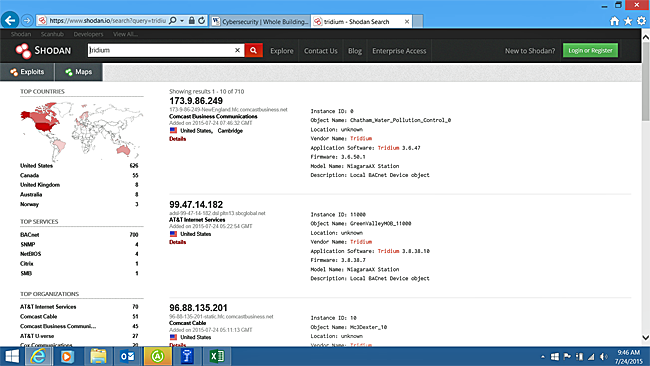 Screenshot of the Shodan program displaying the search results for Tridium products
