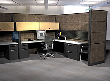 A typical workstation layout involves corner orientation.