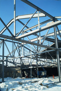 Structural steel framing during erection