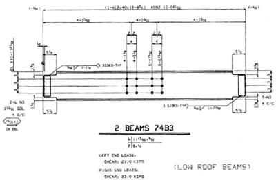 Fabrication shop drawing for a structural steel beam