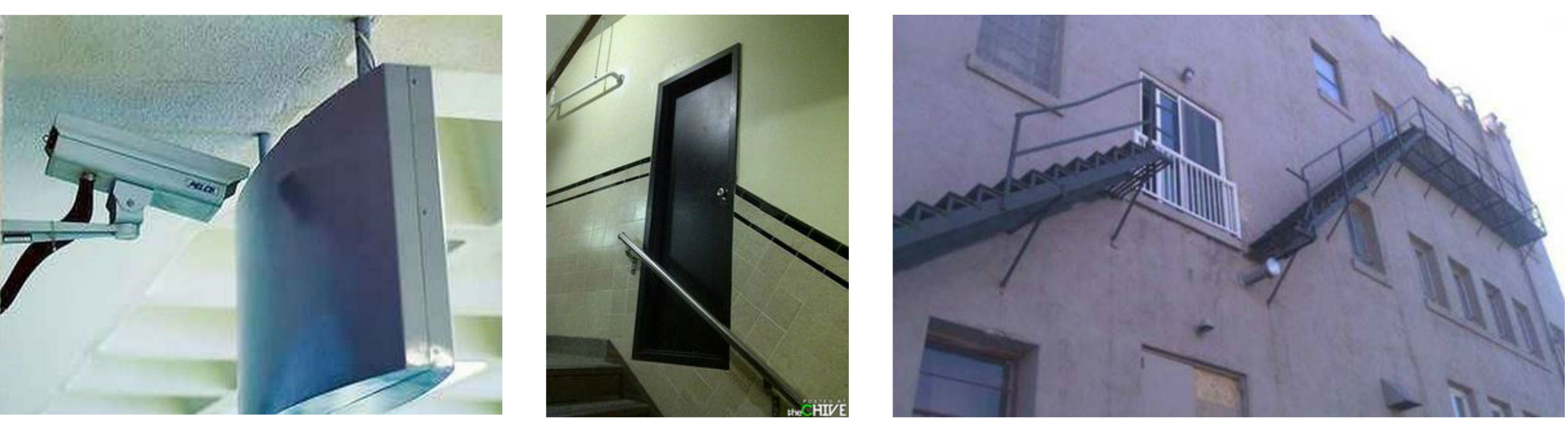 A photo of unsuccessful examples of facility design installations