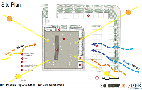 A diagram of the site plan at DPR Phoenix regional office