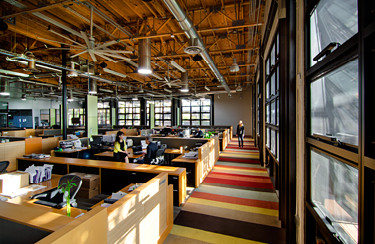 Open office environment offers flexibility and views for all employees.