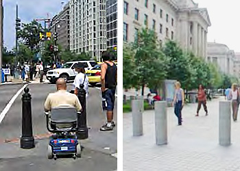 left photo, a man with back to the camera in a wheelchair stopped at a crosswalk with black bollards in front of him and two people standing on the left waiting to cross in front of the bollards; right photo, sidewalk in front of a federal building with pededtrians and staggared bollards