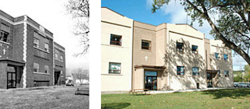 2 photographs before and after: on lefts a B/W photograph of a row of connected 2-story buildings; on right the same row of connected buildings now cladded in EIFS
