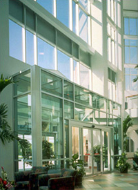 Interior of the Bayfront Medical Plaza's two-sided atrium-St. Petersburg, FL