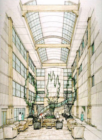 Sketch of the linear atrium at Methodist Willowbrook Hospital-Houston, TX
