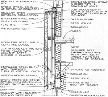 Line drawing of typical nonstructural exterior wall within a steel frame.