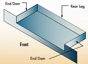 View of a typical window sill pan flashing with end dams and rear legs