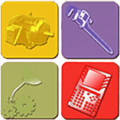 Images of O&M icons - machinery, wrench, oil can to gears and calculator