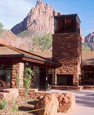 Zion National Park Visitors Center featuring a river rock fireplace and mountain views, Springdale, Utah