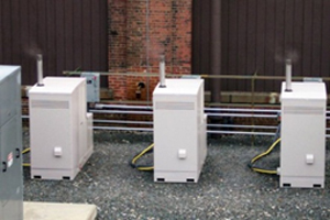 Photo of three plug power polymer electrolyte membrane fuel cells at the Watervliet Arsenal, Department of Defense, Army.
