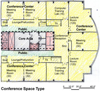 Drawing of conference space type