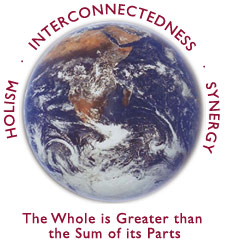 Holism-Interconnectedness-Synergy around a photo of the Earth making 'The Whole is Greater than the Sum of its Parts'