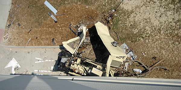 Emergency backup generator destroyed by storm surge during Hurricane Katrina