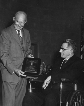 President Eisenhower presents Hugo Deffner with the Handicapped American of the Year Award in 1957