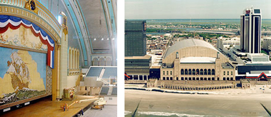 2 side by side photos: left-Interior of historic Atlantic City Convention Hall, and right-Aerial exterior view of historic Atlantic City Convention Hall