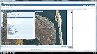 Screen shot of the NJ GIS sysem showing the Water Witch Historic District in Sea Bright, NJ