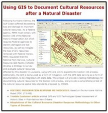NPS Manual on using GIS to document cultural resources after a natural disaster
