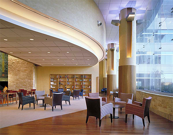The Stowers Research Center provides a comfortable space to meet with guests with multiple conversation areas and impressive window features.