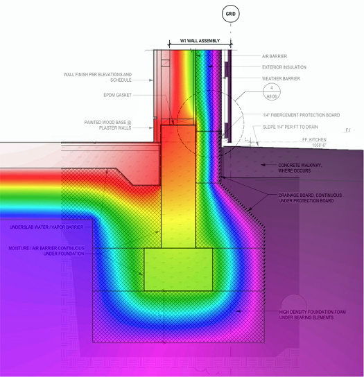 thermal performance of the foundation and wall assembly of the Karuna House, Portland Oregon