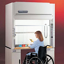 Woman in a wheelchair working in an ADA-compliant fume hood