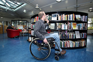 Wheel-chair accessible book stacks.