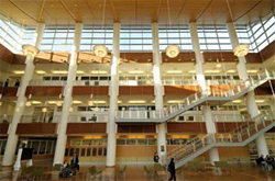 Example of architecture and lighting design featuring a three story atrium