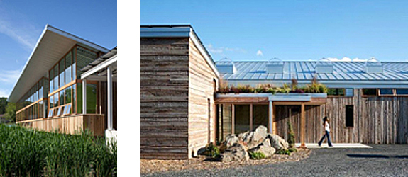 Exterior of the Omega Center for Sustainable Living, left pic features wall of windows, right pic show a walking path