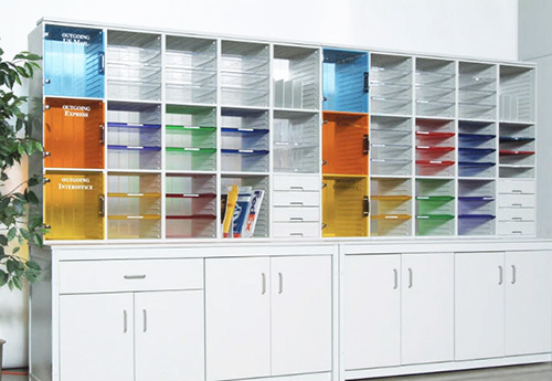 Mail center with colored dividers for organization