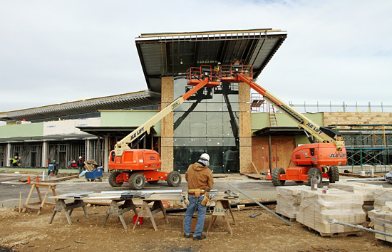 Entry canopy under construction